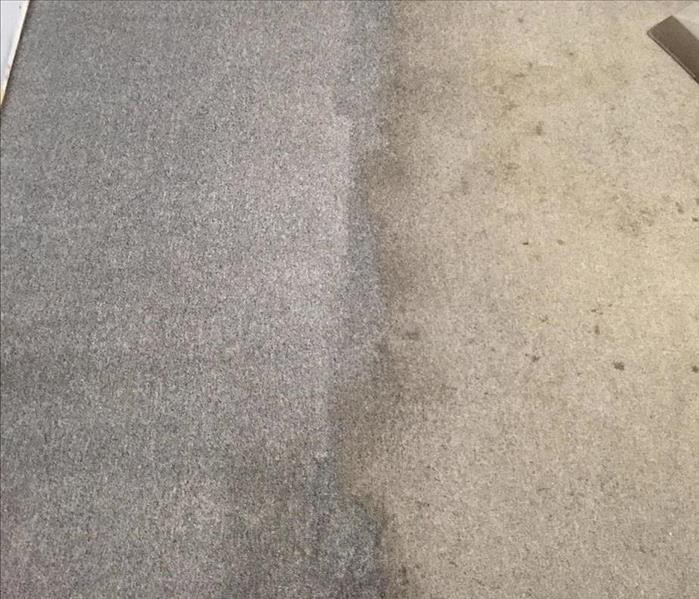 Commercial Grade Carpet with Smoke and Soot Damage Before