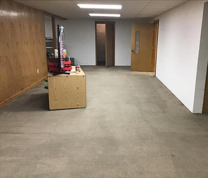 Dry school basement after water damage.