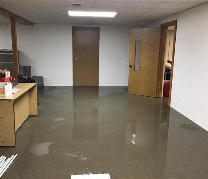 Water in the basement of a school.